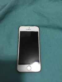 silver iPhone 5 with gray case