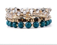 4 piece 8 mm Natural Turquoise and Crystal Layered Elastic bracelets