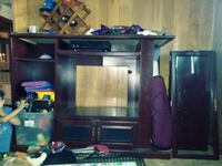 brown wooden TV hutch with flat screen television Kansas City