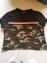 black and gray camouflage crew neck cropped shirt Provo, 84606