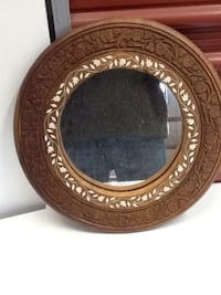 Round brown wooden framed mirror with inlays Sterling, 20166