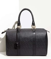 Tote bag in pelle Fendi nera e grigia