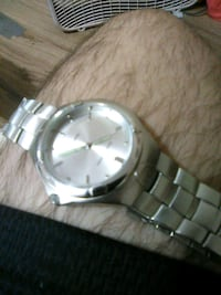 round silver-colored analog watch with link bracel Flint, 75762