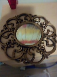 Decorative painted mirror brass tone