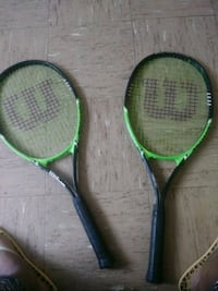 two green and black tennis rackets Cincinnati, 45211