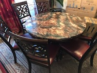 Marble Dining Table with Leather Chair seats