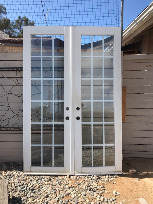 new arrival c2aa7 e017d french doors. 18 lite Double pane glass white wood 94 x 30 wide each