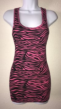 Medium Women's pink and black zebra pattern sleeveless dress Las Vegas, 89102