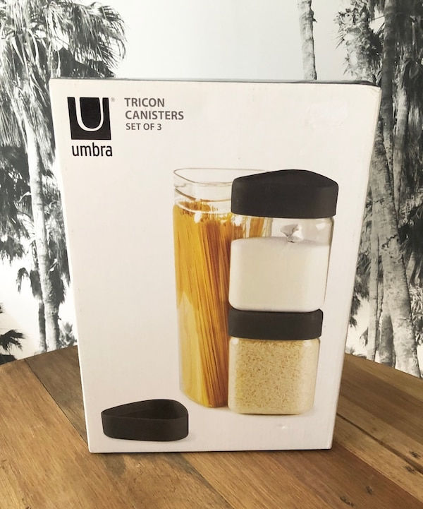 UMBRA Canister Set 3-Piece Black Silicone Lids NEW IN BOX! 123dcfe8-5253-4d34-a978-bb455655468a