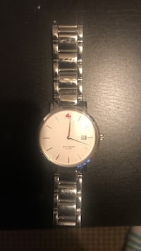 Round Kate Spade silver analog watch with silver link bracelet