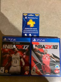 50 dollar PlayStation plus card and 2 video games for ps4 White Rock, V4A 1S9