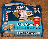 US map floor 24 pc puzzle and poster
