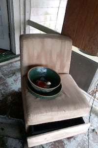 Chair with hide away storage and plant pottery antique must sell