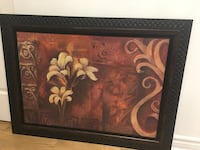 Brown wooden framed painting of white petaled flowers Montréal, H4M