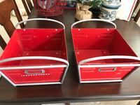 Two red-and-white metal trays Sterling, 20166
