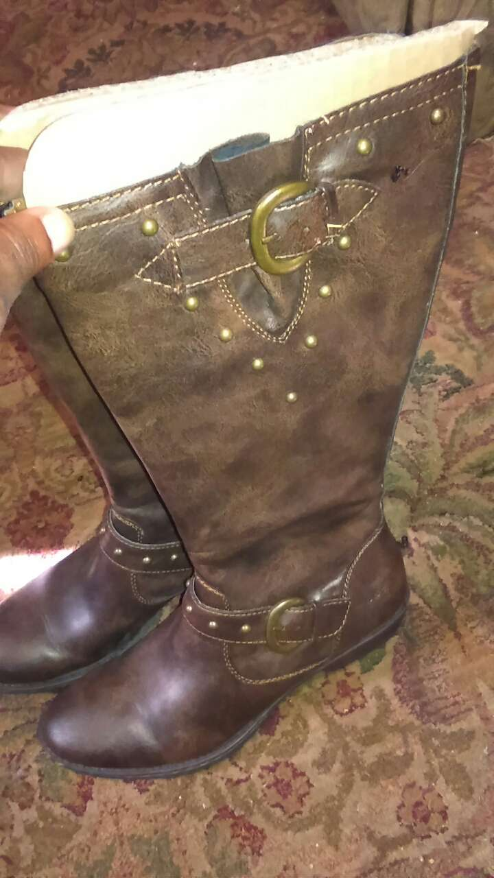 brown leather adjustable chunky heeled knee high boots