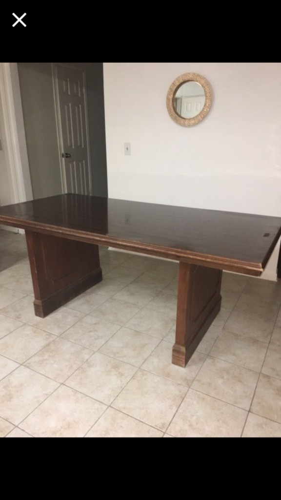 rectangular brown wooden table