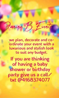 party planning, coordinator and designer! serving Toronto
