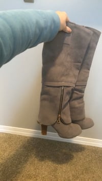 Grey Suede-Like Heel Boots, Size 39