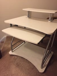 White wooden computer desk with gray steel base Milton, L9T 2R1