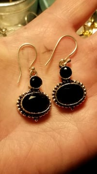New faucets natural black onyx 925 earrings