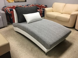 Grey fabric chaise/lounge only