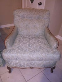 Big antique solid wood blue and gold chair Chalmette