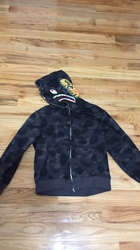 Gray and black a bathing ape camouflage full-zip hooded jacket Cheney