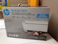 white and black HP Deskjet 1050 printer box Mission, V2V