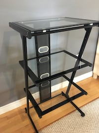 Black metal framed glass top tv stand Hamilton, L8H