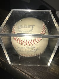 white and red Wilson baseball with clear case Catasauqua, 18032