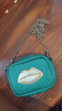 Turquoise and gold small bag with gold chain Santa Fe, 87507