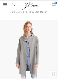 J.Crew Collarless Sweater Blazer Heather Gray (3X) Silver Spring, 20910