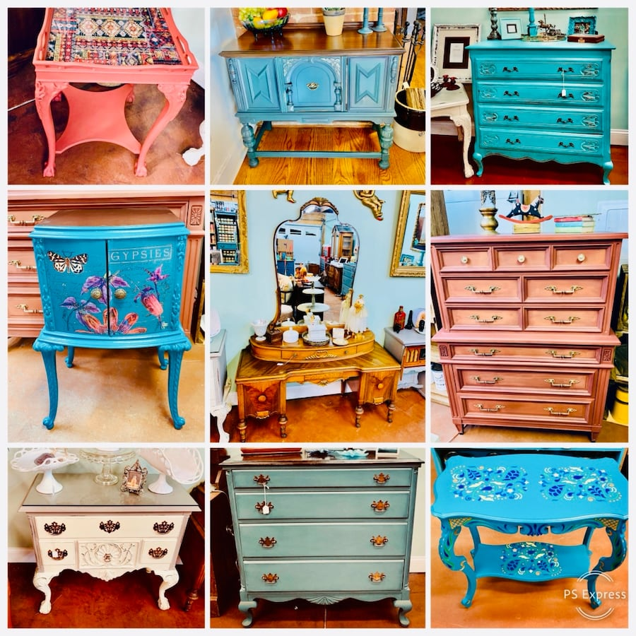 Upcycled hand painted furniture, paint, Pyrex, fun vintage