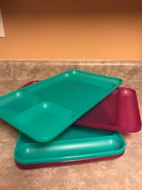 teal and red plastic food tray Draper, 84020