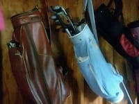 4 golf bags antique leather spalding included unworn golf shoes ladies South Bend