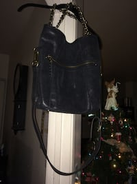 Leather Bag Large Designer B. Makowsky Black 2 way bag!