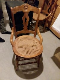 brown wooden frame white padded rocking chair Troy, 12182