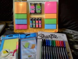 Post-it notes + page tab post-it + Sharpie pens