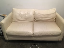Macy's Italian white leather loveseat