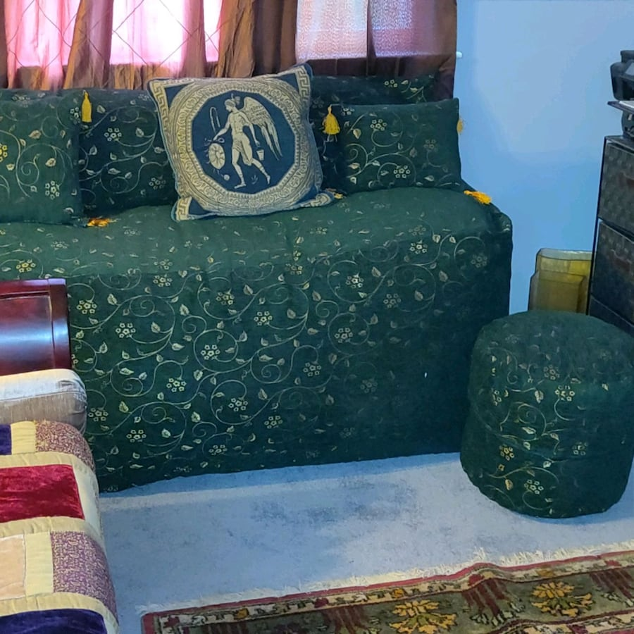 Moroccan Style Bean Bag Couch and Ottoman
