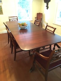 Brown wooden dining room table with 6 chairs.  Wenatchee, 98801