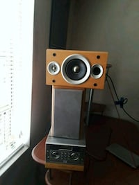 two black and brown speakers & mini receiver   Manassas, 20109
