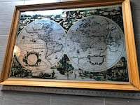 Nova Totius terrarum orbis geographica mirror Stanford Art. Vintage  35x25 inches Vintage wooden frame. Old word globe/map Large rare Stanford mirror print. Great for a study, office, or collector. Lots of details.  Courtice, L1E 0H5