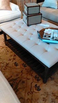 Beautiful Tufted Ottoman with Shelf