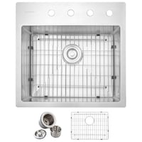 Glacier Bay All in One Drop in Stainless 23in single bowl kitchen sink Henderson