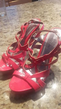 red leather open toe slingback heeled sandals Edmonton, T6R 3P8