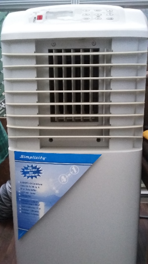 white and blue portable air cooler