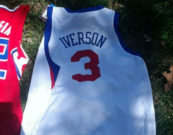ec151bae0d5 Used white and blue Iverson  3 jersey for sale in Charlotte - letgo