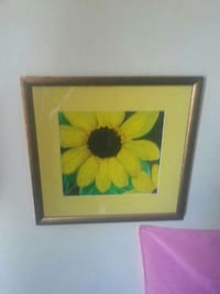 yellow black eyed susan flower painting with brown wooden frame Belleville, K8P 4E1